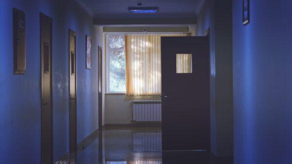 dark lit hospital hallway