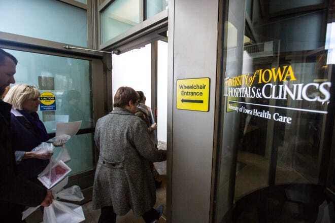 university of iowa hospital employees leaving building on valentines day